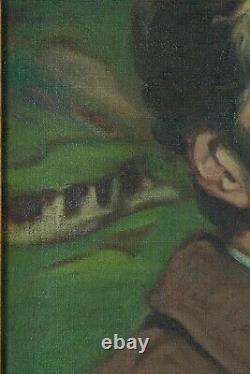 Beau Tableau Ancien autoportrait signé du Peintre Louis Buffin Nabis Symboliste
