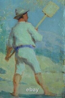 Beau Tableau Ancien impressionniste portrait de Paludier Sel marais salants été