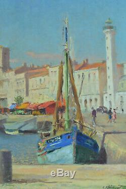 Beau Tableau Ancien vue de port signé Noireaut La Rochelle Ré Charente Maritime