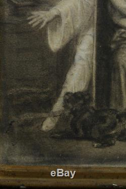 Beau Tableau Charmant dessin Romantique ancien Pierrot et colombine Arlequin 19e