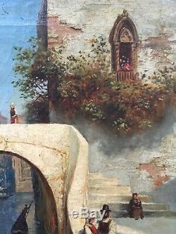 Beau Tableau HsT Ancien XIXème Venise Signé Wreinberg Amour Canaletto Carnaval