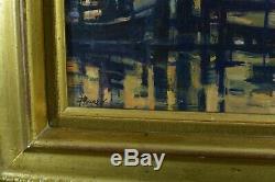 Beau Tableau ancien Bateaux au port signé Burel Expressionniste 1950 Cadre Doré