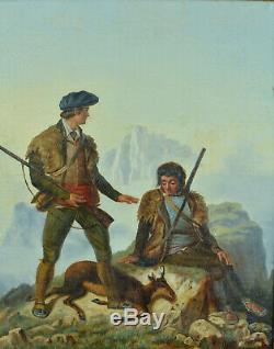 Beau Tableau ancien Chasse Izard Montagne Pyrénées Costume traditionnel Empire