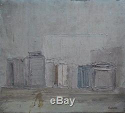 Beau Tableau ancien Composition huile abstraite Peinture signature Charchoune