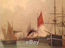 Beau Tableau ancien Ecole Hollandaise Marine Huile monogramme V B à restaurer