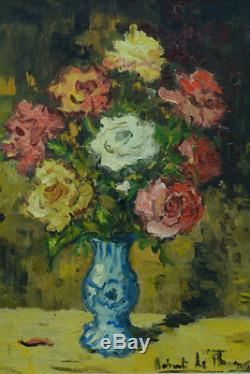 Beau Tableau ancien Fleurs BOUQUET DE ROSES et VASE BLEU hst ROBERT LE BERGER N1