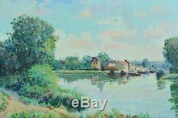 Beau Tableau ancien Impressionniste Seine Saint Mammès Yetvart Kaprielian Sisley