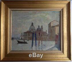 Beau Tableau ancien Impressionniste XIXe Abel TRUCHET Grand Canal Venise Huile