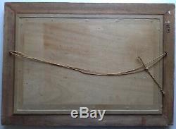 Beau Tableau ancien Marine Falaises d' ETRETAT Huile signée