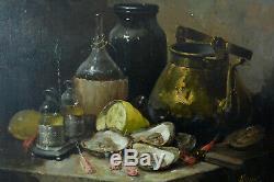 Beau Tableau ancien Nature Morte aux Huitres Oyster Guillaume Fouace 19 thc hst