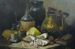 Beau Tableau ancien Nature Morte aux Huitres Oyster sv. Guillaume Fouace 19 éme