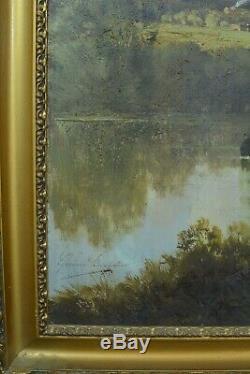 Beau Tableau ancien Paysage Pêcheur Rivière Barbizon Gérard Buysen 19e Hst cadre
