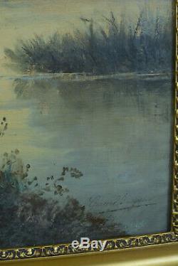 Beau Tableau ancien Paysage animé Barbizon signé Gérard Buysen 19 ème Hst cadre