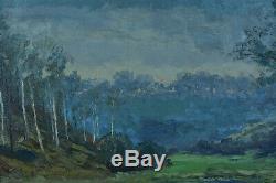 Beau Tableau ancien Paysage arboré Bord de rivière grands arbres Reflets Delsaux