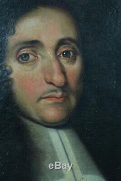 Beau Tableau ancien Portrait Jeune homme à la Perruque Louis XIV 17 ème HST