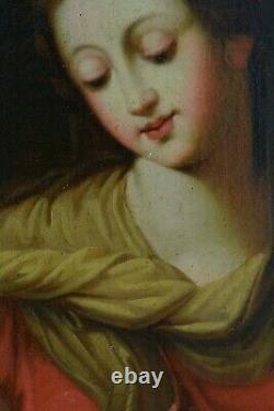 Beau Tableau ancien Portrait Vierge à l'enfant Maternité Italie Raphael 18 ème