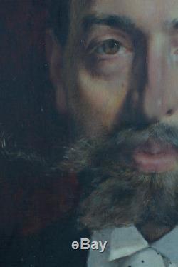 Beau Tableau ancien Portrait d'homme COMTE BLASON Aristocrate Bacchantes 19e