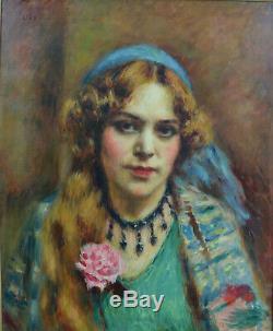 Beau Tableau ancien Portrait de jeune Femme Charles Guerin expo Japon 1914 hst