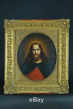 Beau Tableau ancien Romantique Religieux Portrait du Christ de Face signé 1848