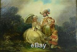 Beau Tableau ancien école romantique Portrait d'une famille dans un paysage 1820