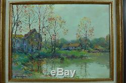 Beau Tableau ancien hst Paysage Bord de Rivière Jean KEVORKIAN P impressionniste