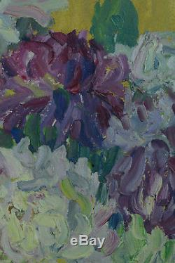 Beau Tableau ancien nature morte au Bouquet de Fleurs Chrysanthemes signée