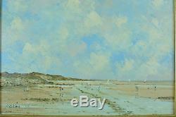 Beau Tableau ancien paysage Marine animé Pierre Stéfani sv Boudin Hardelot Nord
