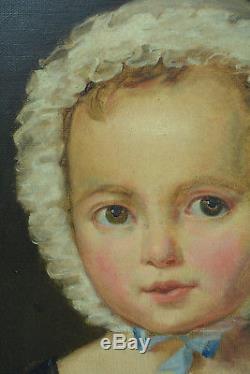 Beau Tableau ancien portrait Bébé Bonnet Laylette Maternité Fillette empire
