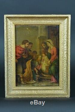 Beau Tableau religieux ancien Portrait Christ Jésus Présentation sur cuivre 17e