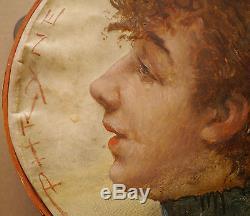 Beau Tambourin Ancien Peint Portrait Femme Actrice THEODORE HANNON Belge Tableau