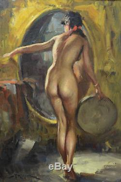 Beau tableau Ancien Durando Togo Portrait l'Odalisque Nue au Tambourin Alcôve