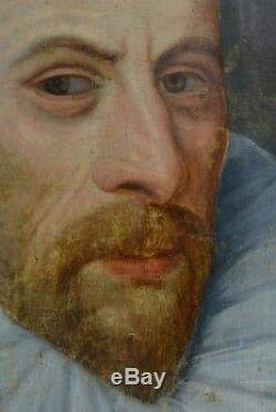 Beau tableau Ancien Portrait d'homme a la Fraise ec. Hollandaise 16e sv Pourbus