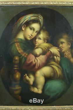 Beau tableau Religieux ancien RAPHAEL Vierge à l'enfant st Jean Baptiste hst