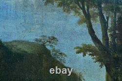 Beau tableau ancien 17e Paysage Chasse Cavalier Chevaux Pandolfo Reschi Rome