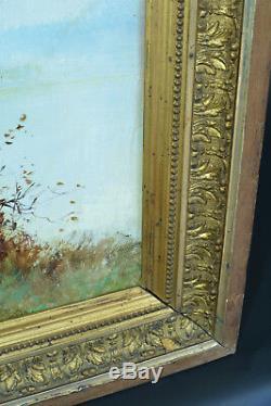 Beau tableau ancien 19 ème signé Godchaux paysage animé Brume au Lever du Jour
