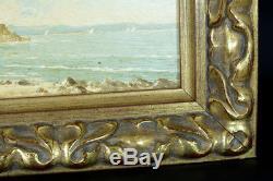 Beau tableau ancien Bord de Mer animée Provence Cannes ste Marguerite Stefani
