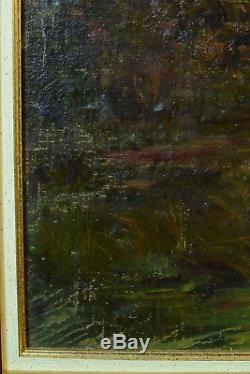 Beau tableau ancien Forêt Barbizon Paysage Crépuscule Fagottière sv Magnus 19e