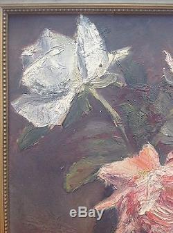 Beau tableau ancien HENRI PAILLER Ecole de Crozant Vase aux Camélias huile cadre