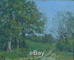 Beau tableau ancien Impressionniste Paysage Arboré Printemps monogramme 19e