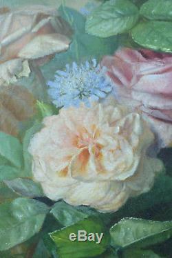 Beau tableau ancien Libellule Roses Fleurs Nature morte hst J. Médard Lyon 19é