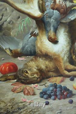 Beau tableau ancien Max Carlier Nature Morte Fleurs Fruits Gibier 19e Still life