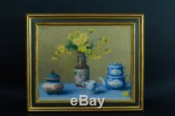 Beau tableau ancien Nature morte à la porcelaine de chine fleurs signé Hst 1900