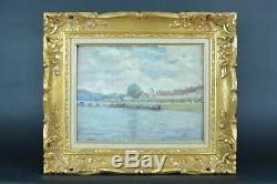 Beau tableau ancien Paysage Bateaux Seine Bord de Fleuve sv Albert Lebourg N°1