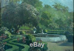 Beau tableau ancien Paysage Jardin Orientaliste John Gleich art nouveau