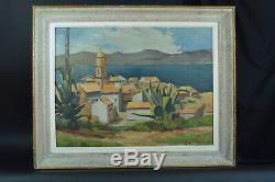 Beau tableau ancien Paysage Vue de Saint Tropez 1920 art deco Hst encadré 15 P