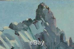 Beau tableau ancien Paysage des Alpes Neige Sommet Hiver Montagne sv Contencin