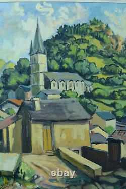 Beau tableau ancien Pierre Baudou Séte Paysage Vue de Village 1938