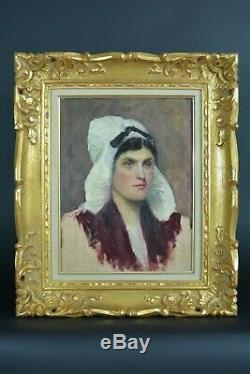 Beau tableau ancien Portrait Femme coiffe Costume Normandie N°3 atelier 1890