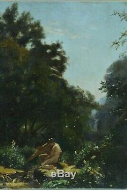 Beau tableau ancien Portrait couple nu dans un paysage Nymphe antique 1830 hst