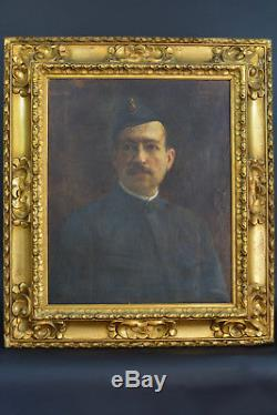 Beau tableau ancien Portrait d'homme art nouveau Judaica 1914 Julius Feld cadre